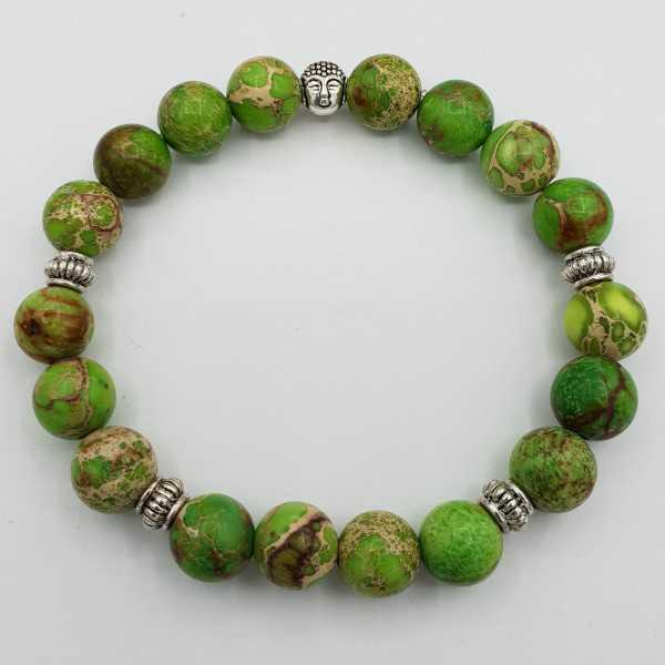 Stretch-Armband mit grünem Sediment-Jaspis