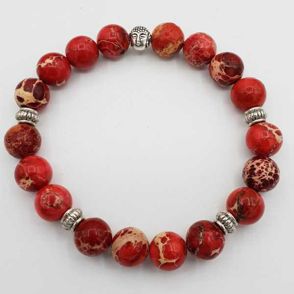 Stretch-Armband mit rotem Sediment Jasper