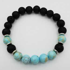 Stretch bracelet with Turquoise blue Sediment Jasper and black Lava stone