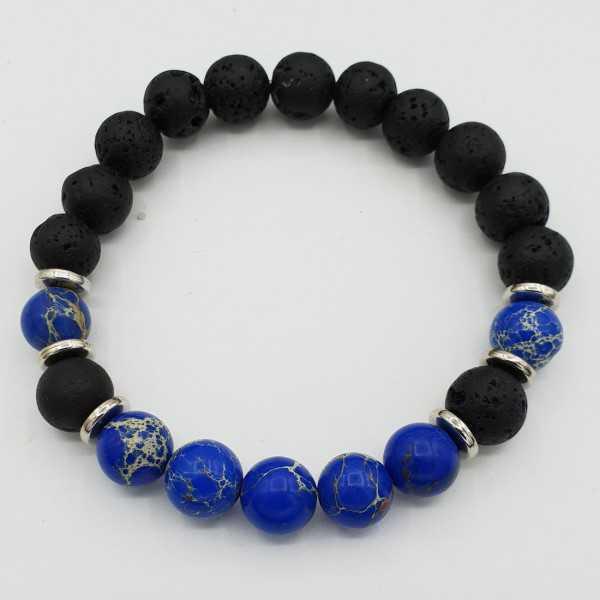 Stretch-Armband mit blauen Sediment Jaspis und schwarzer Lava Stein