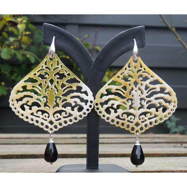 Silber Ohrringe mit geschnitzten Büffel-horn und briolet Onyx