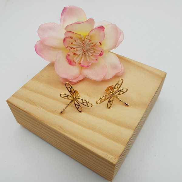 Goud vergulde oorknoppen met libellen