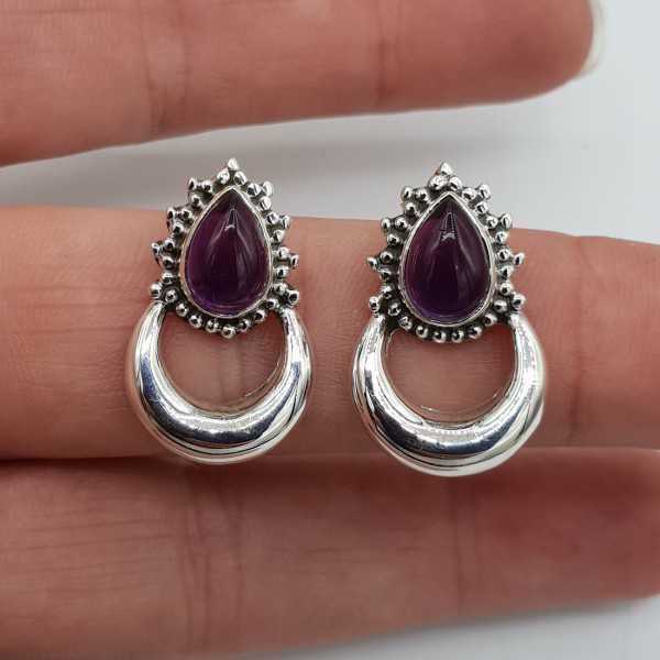 Silver moon oorknoppen set with Amethyst