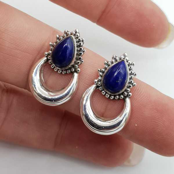 Silver moon oorknoppen set with Lapis Lazuli
