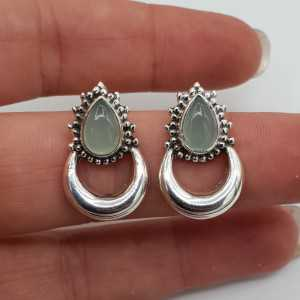 Silver moon oorknoppen set with aqua Chalcedony