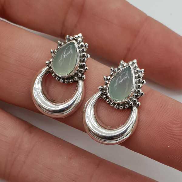 Silver moon oorknoppen-set mit aqua Chalcedon