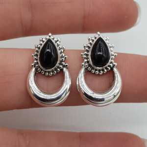 Silver moon oorknoppen set with black Onyx