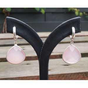 Silber-Ohrringe / Kreolen mit rosa Chalcedon