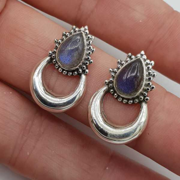 Silver moon oorknoppen set with Labradorite