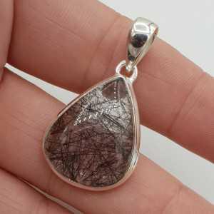 Zilveren edelsteenhanger met druppelvormige Toermalijnkwarts
