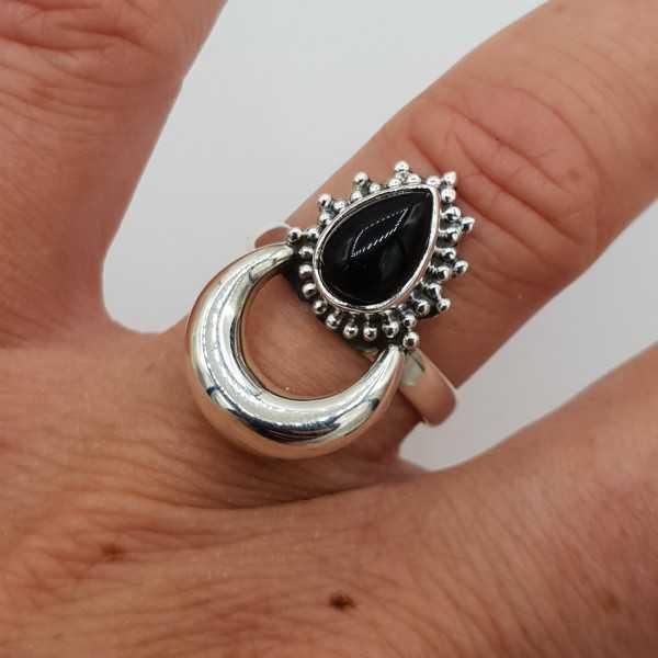 Silver moon-ring-set mit schwarzen Onyx