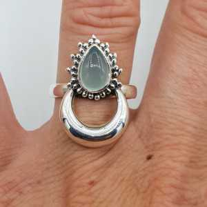 Silver moon-ring-set mit aqua Chalcedon