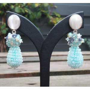 Ohrringe Silber Tropfen Aquamarin, Opal, Iolet und Topas