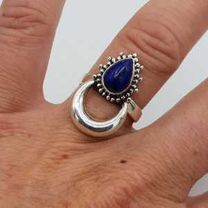 Silver moon-ring-set mit Lapislazuli
