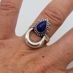 Zilveren maan ring gezet met Lapis Lazuli