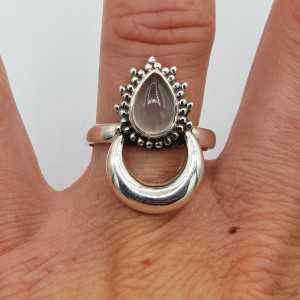 Silver moon-ring-set mit Rosenquarz
