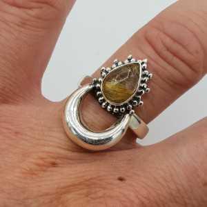 Silver moon-ring-set mit Goldenen Rutielkwarts 17,5 mm