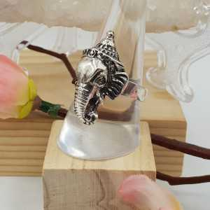 Silver Ganesha elephant ring 18.5 mm