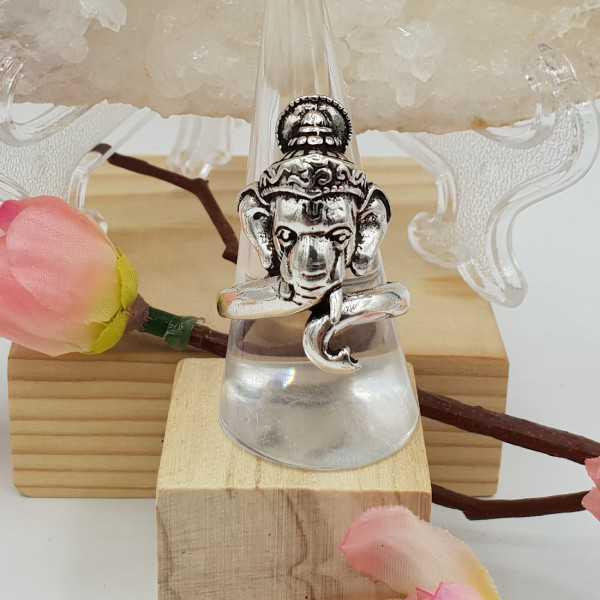 Silver Ganesha elephant ring 19.5 mm