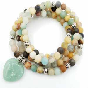 Stretch bracelet / necklace of Amazonite and Amazonite heart