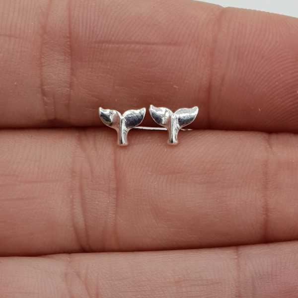 Silver small wale tale oorknopjes