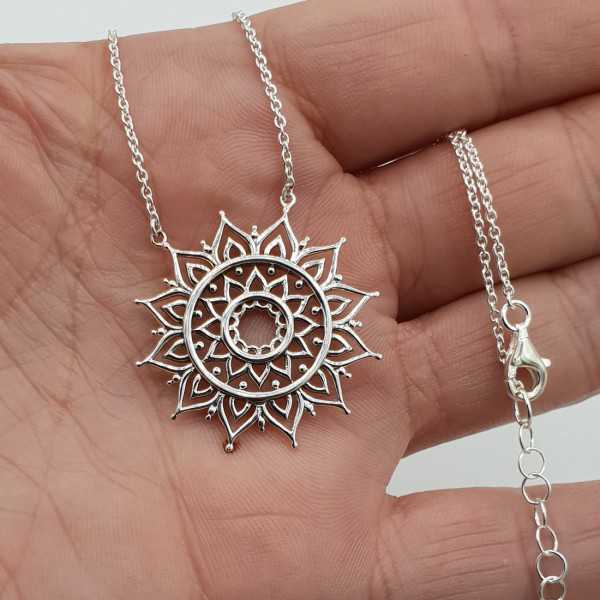 Silver necklace with mandala pendant