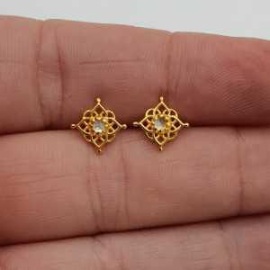 Goud vergulde mandala oorknopjes gezet met Maansteen