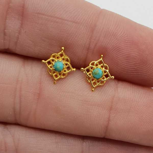 Gold-plated mandala oorknopjes with Turquoise