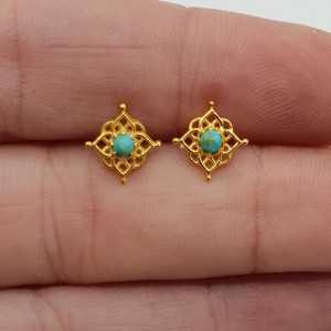 Vergoldete mandala oorknopjes mit Türkis