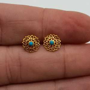 Gold-plated mandala oorknopjes with round Turquoise