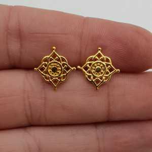 Gold plated oorknopjes Mandala