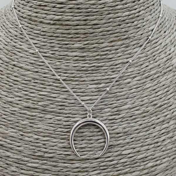Zilveren ketting met maan hanger