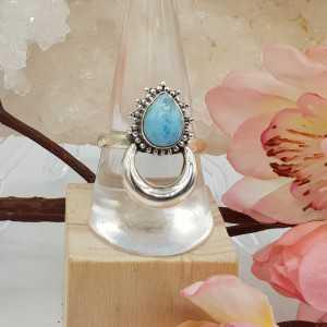 Silber-Mond-ring besetzt mit Larimar-19 mm
