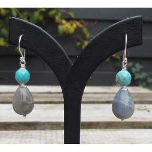 Silber-Ohrringe mit Labradorit und blau Howliet