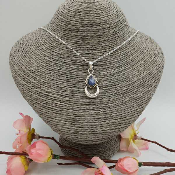 Silver necklace with moon pendant set with Kyanite