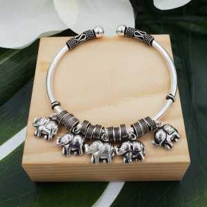 Silver bracelet / bangle with elephants