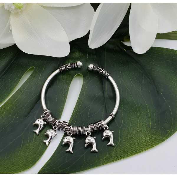 Silber Armband / Armreif mit Delfinen, Sie