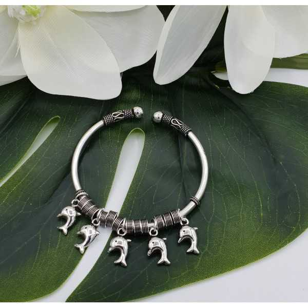 Silver bracelet / bangle with dolphins, she