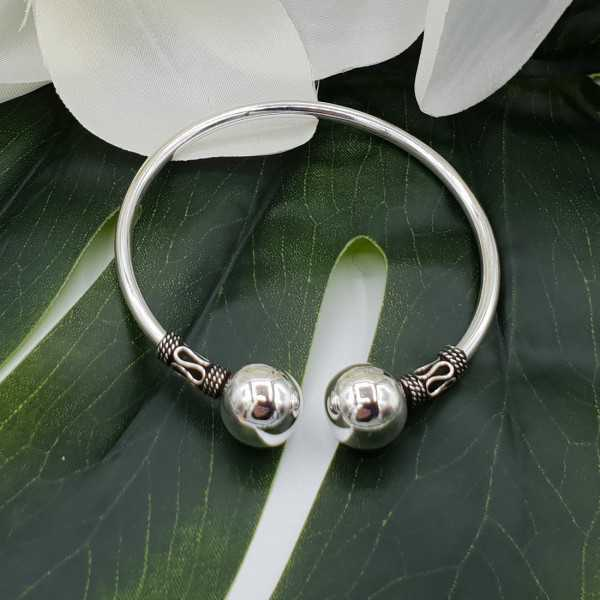 Silver bracelet / bangle bali style two large bulbs