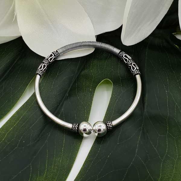 Schöne Sterling Silber Armband / Armreif Durchmesser: 5,8 cm