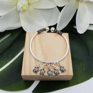 Silver bracelet / bangle with calicos