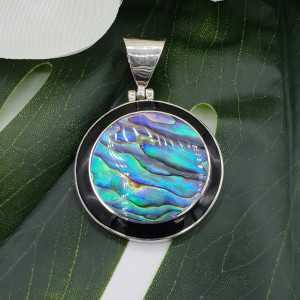 Zilveren hanger met ronde Abalone schelp