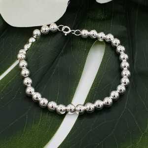 Zilveren armband balletjes 6mm