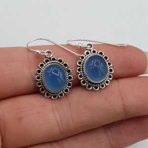 Silber Ohrringe mit ovalen cabochon Chalcedon blau