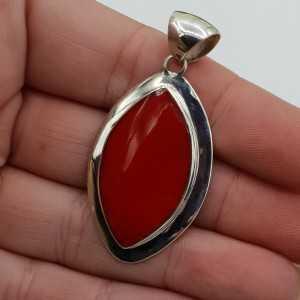 Zilveren hanger met marquise rood Koraal