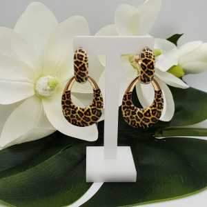 Creoles with pendant with leopard print