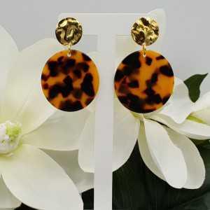 Vergoldete Ohrringe mit Runde Harz-Anhänger