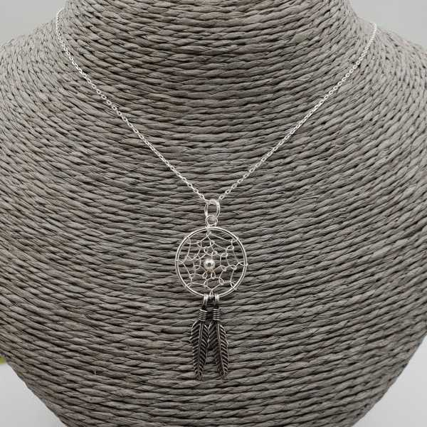 Silver necklace with dream catcher pendant
