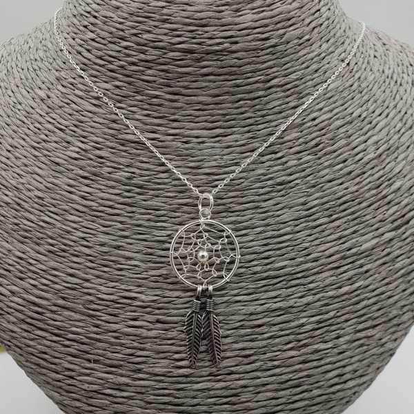 Zilveren ketting met dromenvanger hanger