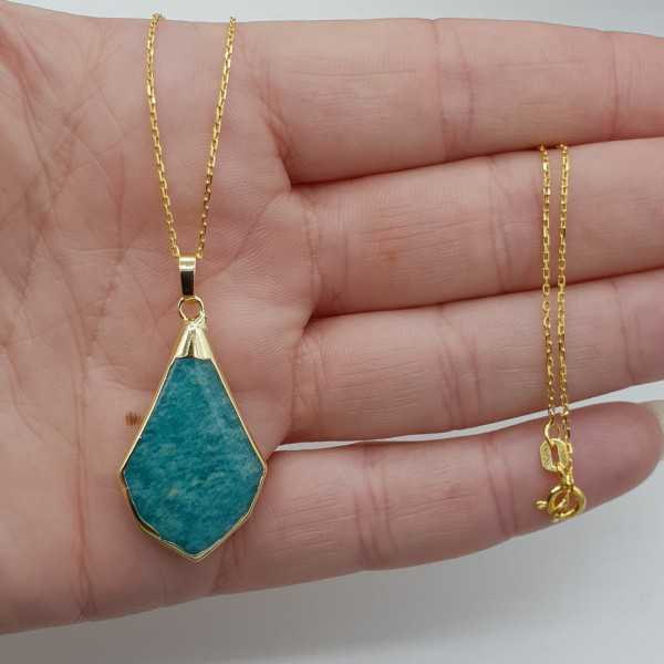 Gold plated necklace with Amazonite pendant